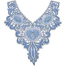 QILEGN - Parches de cuello con encaje floral bordado para costura (azul) 0ef3228ea32f