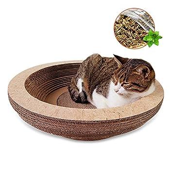 Enjoyfeel Griffoirs pour chats, Chat Griffoirs-Carton Ondulé pour Chat/Chat Planche à Gratter/Jouet de chat Lit de détente avec Catnip (Formulaire 3)
