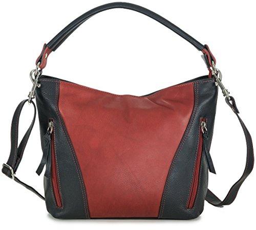 Damen Handtasche Leder schwarz rot Damentasche Umhängetasche von Taschenloft (31 x 23,5 x 9 cm)