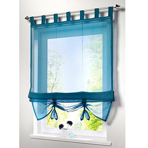 KOU-DECO Raffrollo Schlaufen Gardinen Voile Transparent Vorhänge 1er-Pack Vorhang (B*H 80*155cm, Aqua)