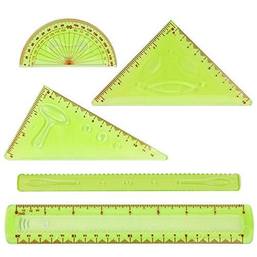 Flexible Lineale Funny Bruchsicher Combo 8-Zoll (20 cm), 180 Grad Winkelmesser, 2 Dreieck und 1 Welle, 5 in 1 Pack, Zoll und Metrisch, für Büro oder Schule, Grün