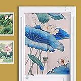 SHUNSHUNML Japanischer Vorhang Lotus Tinte Chinesische Baumwolle Vorhang Vorhang Vorhang Wind Vorhang Wohnzimmer Dekorative Vorhang Benutzerdefinierte Karte 85 × 120 cm