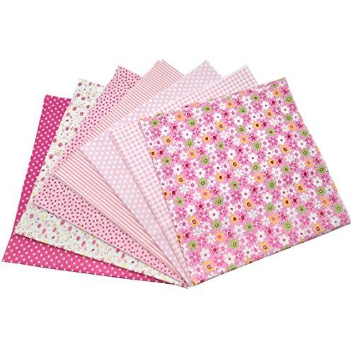 7Pcs Baumwollstoff Patchwork Stoffe DIY Gewebe Quadrate Baumwolltuch Stoffpaket zum Nähen mit vielfältiges Muster 50x50cm Pink