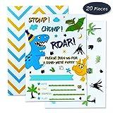 WERNNSAI Dinosaurier Einladungen - 20 Stück Fill-in Einladungskarten Ausfüllen mit 20 Stück Umschläge Dinosaurier Party Zubehör für Jungs Geburtstag Baby Shower
