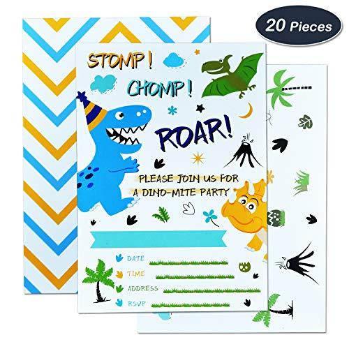(WERNNSAI Dinosaurier Einladungen - 20 Stück Fill-in Einladungskarten Ausfüllen mit 20 Stück Umschläge Dinosaurier Party Zubehör für Jungs Geburtstag Baby Shower)
