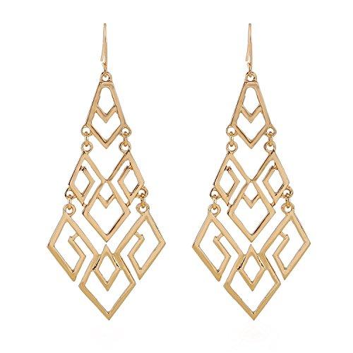Asien Frauen Geschenk Idee Mode Gold Ausschnitt Diamant Kronleuchter Tiered baumeln Ohrringe