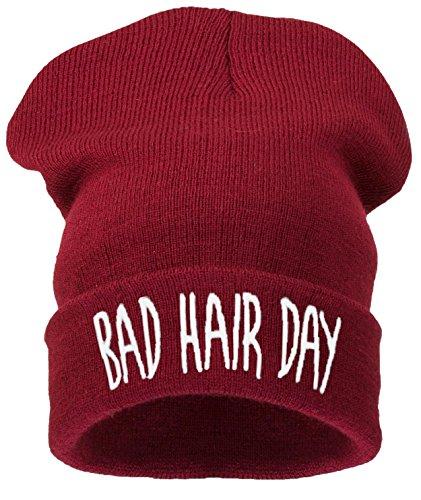 4sold Beanie Mütze Hat Mütze Bad Hair Day Fuckin Problems Comme des Fuckdown.Hit Neu 200 Models (bhd dunkel rot - weiß) - Obey-mütze