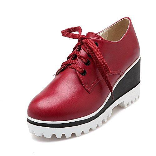 AllhqFashion Femme Lacet Rond Matière Souple à Talon Haut Couleur Unie Chaussures Légeres Rouge