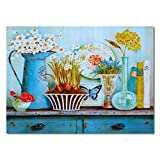 """HYFBH Flower Full Desk Corner Poster Stampa su Tela da Parete Stile Nordico Minimalista Arte Modulare Soggiorno Camera da Letto Home Decor 40x60cm (15.7""""x23.6) con Cornice"""