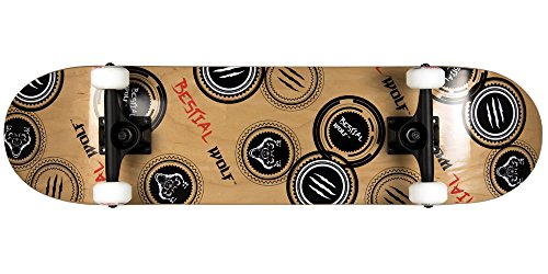 Bestial Wolf Madness Skateboard, Madera/Negro/Rojo, Talla Única