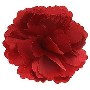 Pixnor 2-in-1 bella peonia raso stile donne ragazze capelli Clip tornante spilla fiore (rosso)