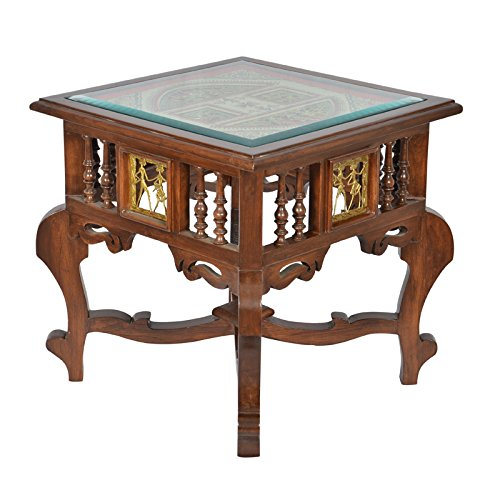 ExclusiveLane Teak Wood Side Table With Dhokra and Warli Work - End table Coffee Table Console Table Utility Table