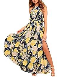 e039ac2bb22167 Ansenesna Kleider Sommer Damen Lang Mit Schlitz Boho Blumen Elegant  Cocktailkleid Mit Gürtel Retro Strandkleid