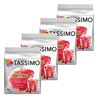 Tassimo Twinings Infusion Saveur Fruits des Bois, Lot de 4, 4 x 16 T-Discs