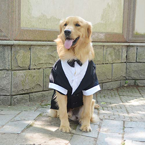 Kostüm Und Kleine Groß - lovelonglong Hunde Schwarzer Smoking-Anzug Kostüme Party Formellen Anzug mit Schwarzer Fliege für Kleine, Mittelgroße, Großer Hunde, Bulldogge Kostüme Black L-S