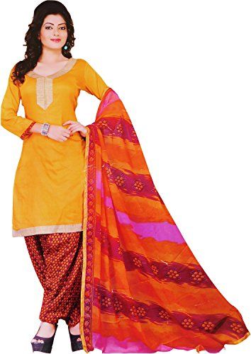 Asha Women's Ethnic Wear Poly Cotton Unstitched Regular Wear Salwar Suits Dress Material (Yellow_Free Size)