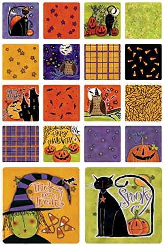 drinkblots Happy Hauntings Halloween saugfähig Wiederverwendbar recycelbar Papier Art Quadratisch Drink Untersetzer 18Stück ()