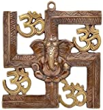 #4: JaipurCrafts Wall Hanging Of Lord Ganesha On Swastik With Om Showpiece - 22.86 cm