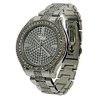 Eton Gents Silvertone Bling Crystal Dial & Bracelet Strap Watch 3000J