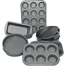 Crazygadget® 9pezzi antiaderenti in acciaio al carbonio Bake Ware Set di stampi per dolci, 6Muffin, 12tazze, Bunsheet, Teglia e sandwich Tin con solida base e perdere