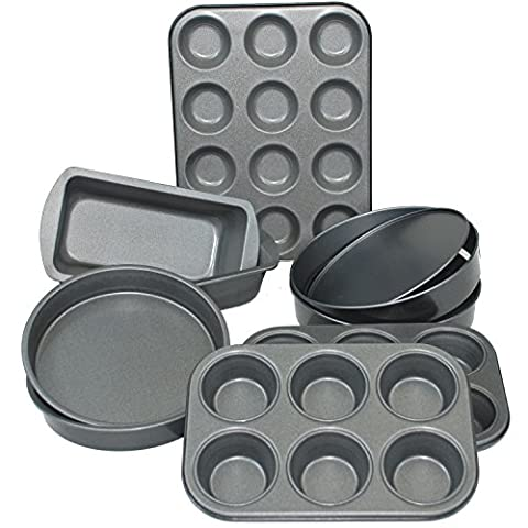 CrazyGadget® 9 Piece Non Stick Carbon Steel Bake Ware Bakeware Baking Set Including 6 Cup Muffin Tin, 12 Cup Bunsheet, Loaf Tin & Sandwich Tin with Solid and Lose Base