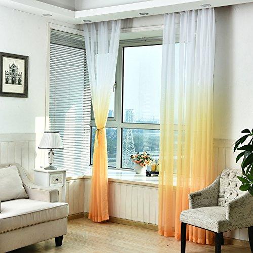 Tenda in voile di garza, tinta unita con colore degradante, per finestra di camera da letto, soggiorno o balcone, parte superiore per fissaggio su asta, 1tenda