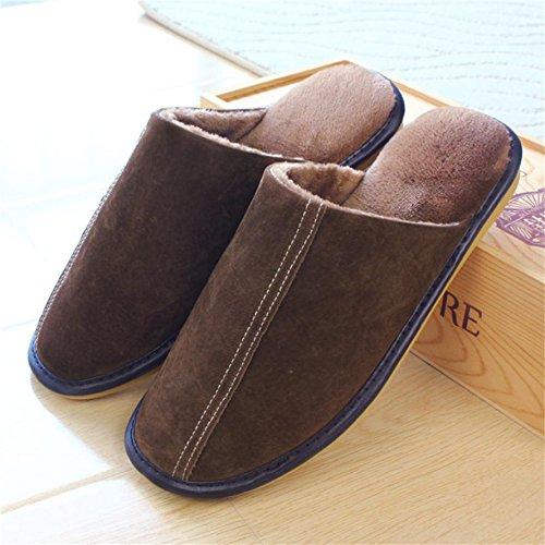 ZHLONG Autunno-inverno caldo cotone pantofole uomo casa pantofole casa skid scarpe , 1 , large