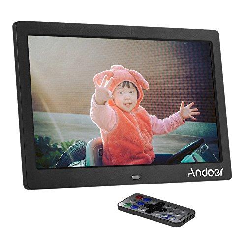 Andoer Cadre Photo Numérique 10 pouces, cadre numérique comme MP3 MP4 horloge avec télécommande (Noir)