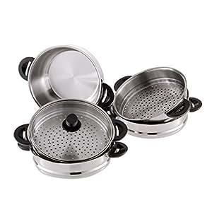 Mantykocher mantovarka en acier inoxydable, capacité cuiseur vapeur 26 cm, 6 pièces avec couvercle en verre