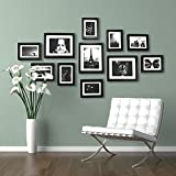 PPD Set Of Frames For Wall - Wall Frames Set - 11 Frames - With Picture Mounts- 135x70cm- Frame Width 2cm - Black Home Decor By Paper Plane Design