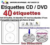40 étiquettes CD - DVD autocollantes standard autocollant de diamètre 117 mm + trou 17 mm - livré avec curseur de placement - feuille de 2 étiquettes - étiquette cd/dvd pour imprimante jet d'encre et laser- pour imprimer et personnaliser vos cd avec des images ou textes - compatibles tous logiciels standards RÉFÉRENCE UGCD1