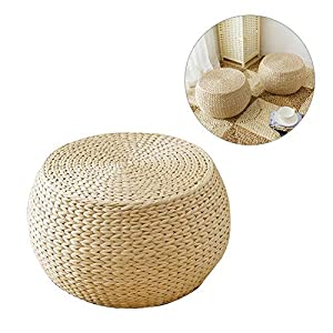 Design Pouf Sitzkissen Rund Kissen Stricken Handgewebte NatÜRliche Gewebte Webart Gras Futon Bodenkissen Handgefertigte…