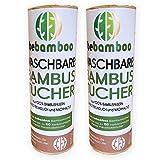 2er Set yabamboo Bambus Küchenrolle | Waschbare Bambustücher | Saugstarke und Reißfeste Haushaltstücher | küchenrolle Wiederverwendbar | 100% Biologisch abbaubar | Papiertücher | schnelltrocknend |