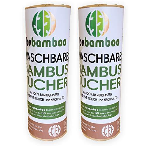 2er Set yabamboo Bambus Küchenrolle Waschbare Bambustücher Saugstarke und Reißfeste Haushaltstücher küchenrolle Wiederverwendbar 100{924965d4da781535203142e2376b0ec91a67bbb816f6192f2cee39ca91a95ab3} Biologisch abbaubar Papiertücher schnelltrocknend