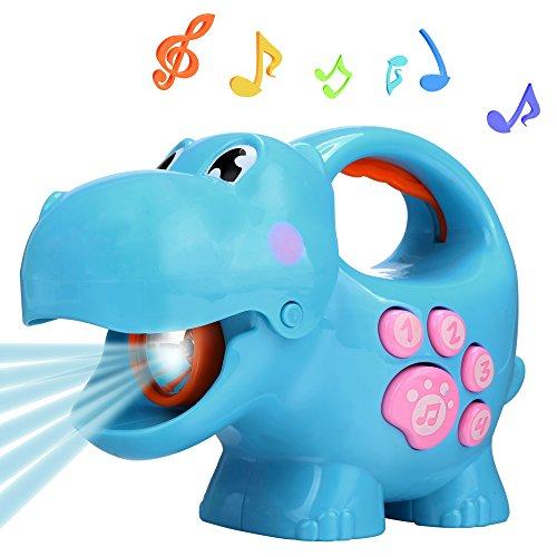Preisvergleich Produktbild Smibie Kinder Taschenlampen Tier Musik Licht Fackel Lernspielzeug mit Easy-Grip Griff (Blue)