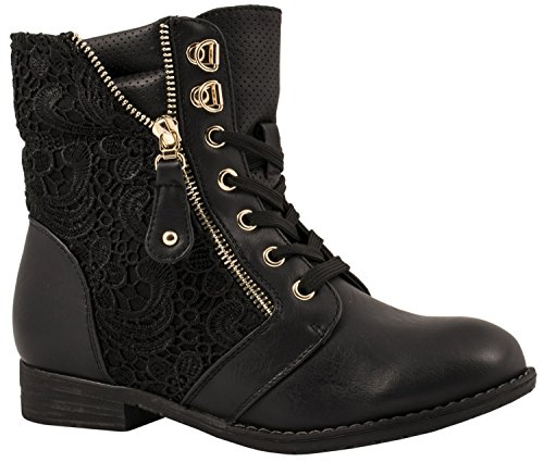 Elara Damen Stiefelette | Biker Boots | Trendy Lederoptik Schwarz Reißverschluss