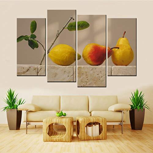 WOKCL Leinwanddruck 4 Panels Obst Birnen Und Eine Zitrone Moderne Leinwand Kunst Malerei Für Wohnzimmer Wohnkultur -