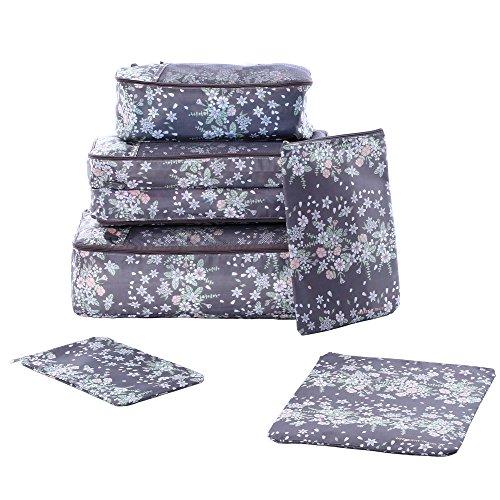 Shopper Joy Koffer Organizer | Reise Kleidertaschen Set 6 Teilig | 3 Packing Cubes + 3 Laundry Pouches Kosmetiktaschen für Damen Herren auf Urlaub Camping Aufenthalt - Kaffee + Gänseblümchen