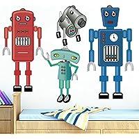 DecalMile Vinilos Dibujos Animados Robot Pegatinas Pared Desmontable DIY Decorativos Adhesivos para Infantiles Niños Habitación