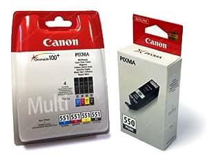 5 Cartouche d'encre pour Imprimante Canon Pixma MG5550 - Cyan / Magenta / Jaune / Noir / Noir