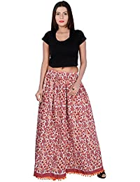 Fabcolors Smoothy And Silky Block Printed Cotton Long Skirt With Bottom PomPom Art Work ( Maroon )