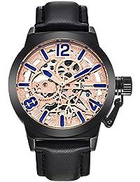 Alienwork Reloj Automático esqueleto mecánico relojes hombre XXL Oversized Diseño Piel de vaca oro rosa negro K003B-03