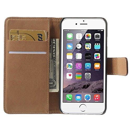 TheMax Portefeuille et coque pour iPhone 55S iPhone 66S 6Plus, en cuir véritable Red