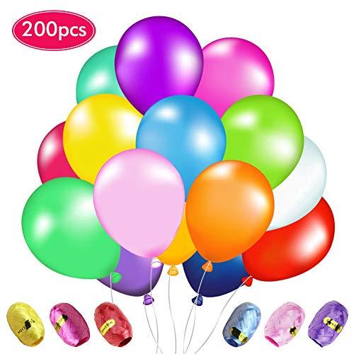 Livehitop 200 pcs palloncini lattice con nastro - palloncino colorati misti brillante festa decorazioni per matrimonio, compleanno, anniversario, graduazione, natale, halloween