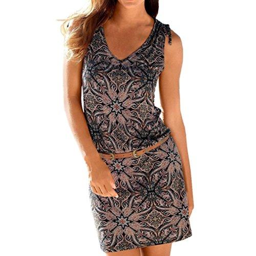 Longra Damen Beachwear Strandkleider Knielang Kurzarm Tunika Bohemian Kleider V Ausschnitt Kleid Damen Vintage Blumendruck Sommerkleider im Ethno-Style Minikleid (S, Multicolor)