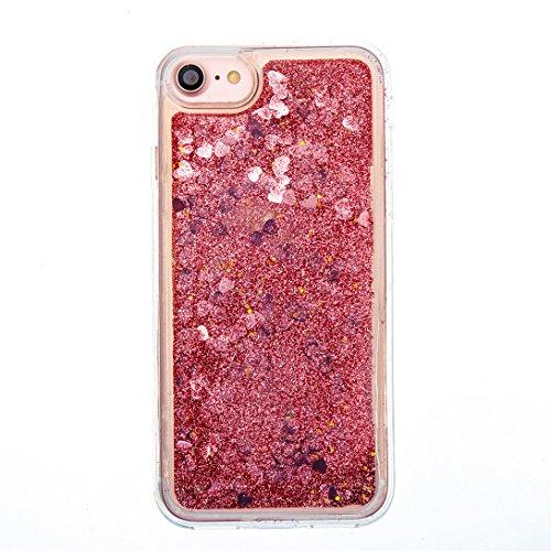 Pheant® Apple iPhone 7 (4.7 pouces) Coque Gel Transparent Brillante Étui de Protection en TPU Silicone avec Liquide Bling Gratuit Paillette Sable Mouvant Couleur-02
