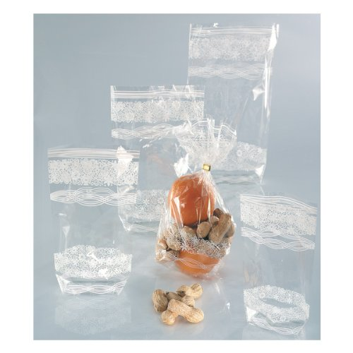 Folia Zellglasbeutel mit weißem Spitzendruck, 10 Beutel, 95x160mm