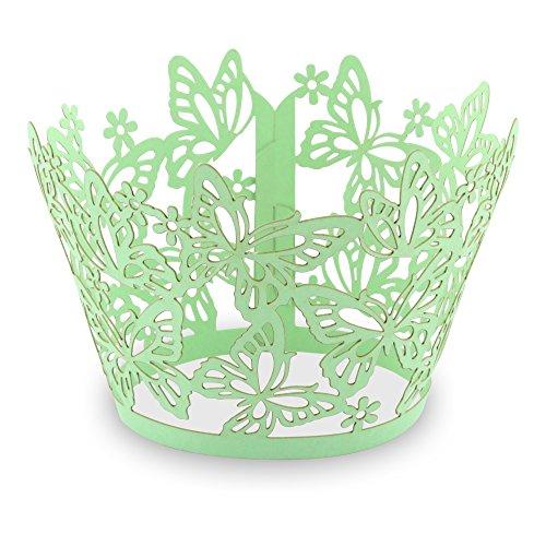"""Elfenstall Cupcake / Muffin Papierförmchen - Zierumrandung - Dekorand \"""" Schmetterlinge / Butterfly \"""" 12 Stück für Hochzeiten Partys oder Feste (hellgrün / grün)"""