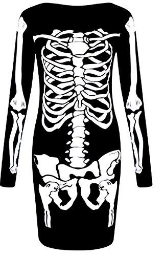 Damen Halloween Skelett Knochen Kleid Body Anzug Overall Leggings Plus 36-48 (Größe Anzüge Plus Kleider)