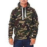Herren Pullover Camouflage Hoodie Grün Kapuzenpullover Pulli mit Kapuze, Größe:M, Farbe:Grün
